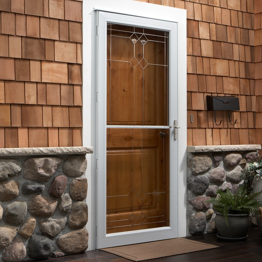 elegant mostly glass white storm door