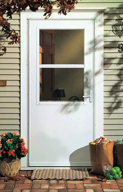 plain white storm door on porch