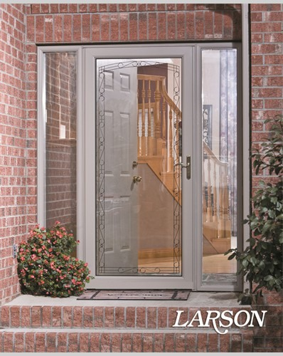 mostly glass grey storm door